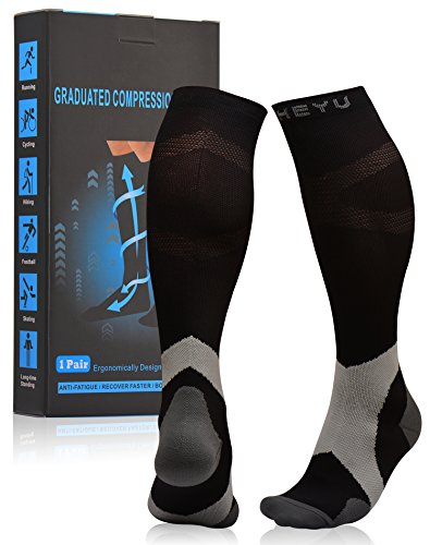 Atist Compression Socks for Womens & Mens, 20-30 mmHg, Walkers Walking Reduces Swelling, Boost Blood Circulation, Grey, L/XL