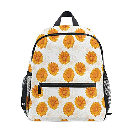 Kids Backpacks School Book Bag,Blooming Calendula Flowers Watercolor Botany Themed Composition