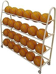 Kindergarten Basketball Organizer Cart, 4 Tier Large Capacity Ball Storage Rack for Home Gym Garage, Hold 42 B