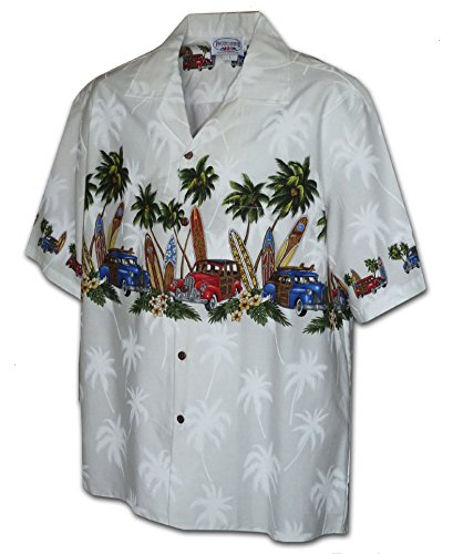 Border Hawaiian Aloha Shirts (Hawaiian Shirt for Boys - White w/ Palm Tree & Car Border, Small)