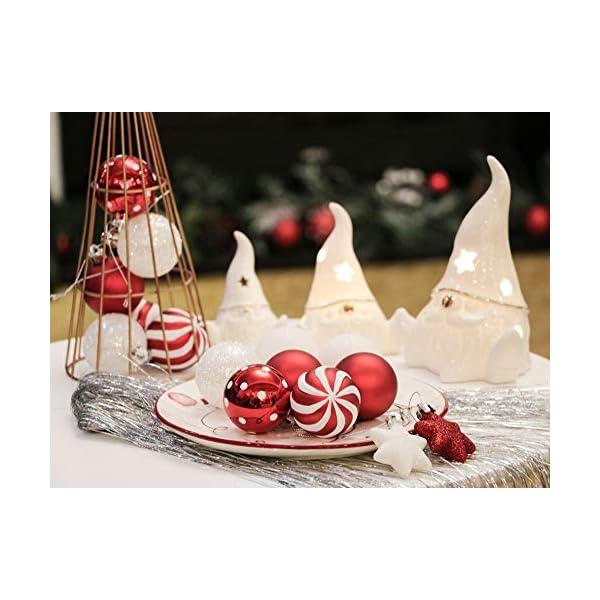Victor's Workshop Addobbi Natalizi 35 Pezzi 5cm Palle di Natale, Oh Deer Red e White Shatterproof Christmas Ball Ornaments Decoration for Christmas Tree Decor 7 spesavip