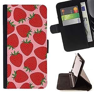 BullDog Case - FOR/Samsung Galaxy S5 V SM-G900 / - / strawberry summer sun pink berries /- Monedero de cuero de la PU Llevar cubierta de la caja con el ID Credit Card Slots Flip funda de cuer