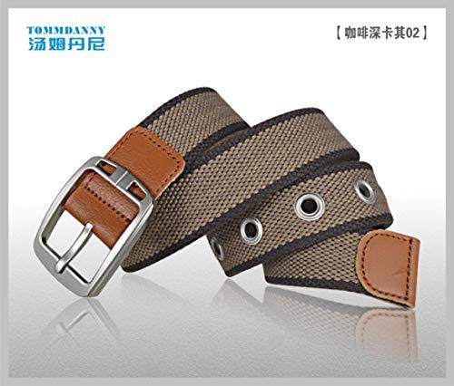 [해외]Men`s cloth belt jeans needle buckle belt outdoors Silver buckled coffee deep khaki 100cm / Men`s cloth belt jeans needle buckle belt outdoors Silver buckled coffee deep khaki 100cm