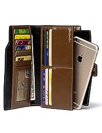 BOSTANTEN Women's Large Capacity Luxury Wax Genuine Leather Wallet with Zipper Pocket Brown