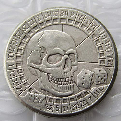 suiwoyoujooact BU(14) Hobo Nickel 1937-D 3-Legged Buffalo Nickel Skull Zombie Skeleton Keychain Pendant