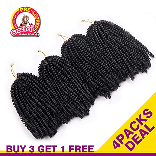 4 Packs Spring Twist Crochet Braids 8Inch 30 Strands Low Temperature Fiber Natural Black Color Synthetic Spring Curl Braiding Hair Extensions Crochet Braiding (#1B Natural - Strand 8in Natural
