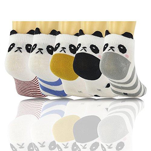 SLAIXIU Cute Animal Design Cotton Kids Babys Socks for Boys Girls Socks 5-Pack (C531-L)