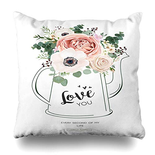 DaniulloRU Throw Pillow Covers Romantic Floral Rose Peach Flower White Wax Anemone Nature Green Eucalyptus Greenery Berry Bouquet in Home Decor Sofa Cushion Case Square Size 18 x 18 Inches Pillowcase