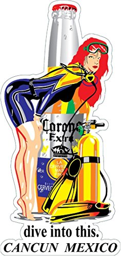 BIKERSTUFFUS Corona Extra Dive INTO This Cancun Mexico Toolbox Sticker Lunch Box Left