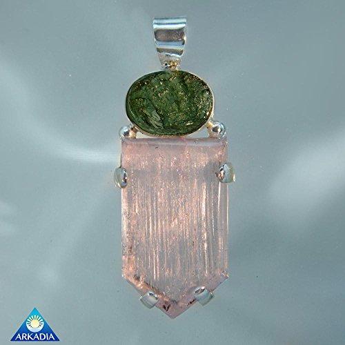 Moldavite Kunzite Crystal Gemstone Pendant SRP1420