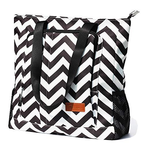 Large Travel Tote Water Resistant Shoulder Bag Lightweight Gym Tote for Men Women Unisex Day Bag (Black White Wave)