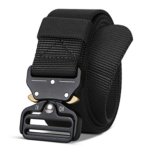Men/Women Tactical Nylon Belt, Military Style Webbing Riggers Belt Metal Buckle Quick Release (Fit for waist 46-50in, Black)