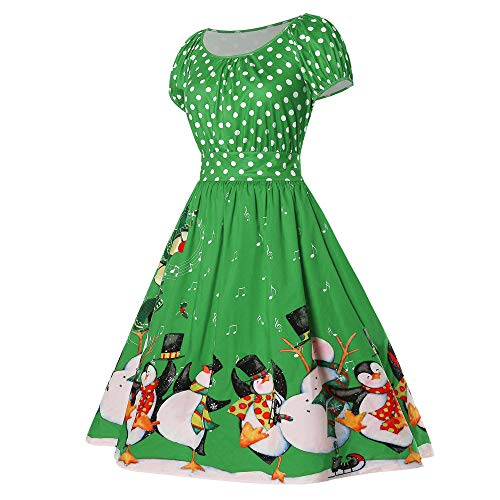 Landfox Xmas Christmas Cocktail Dress, Special Women Vintage Penguin Dot Print O-Neck Party Dress Green ()