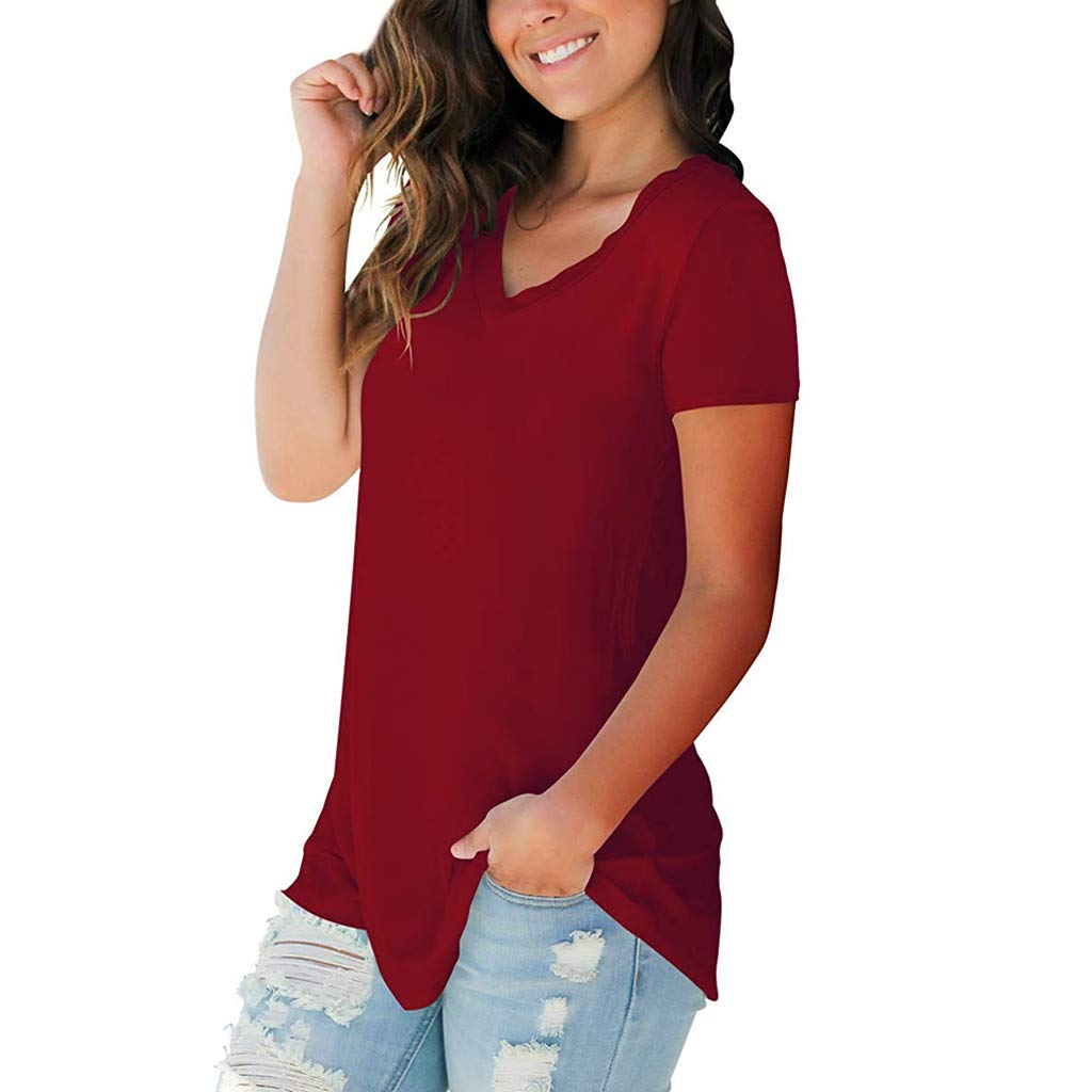 iZHH Womens Shirts Summer Short Sleeve V-Neck Comfy Casual Solid T-Shirt Casual Loose Tops Blouse