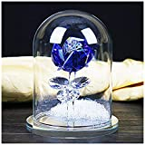 H&D Crystal Enchanted Rose Blue Rose Flower Figurine in a Glass Dome with Gift Box