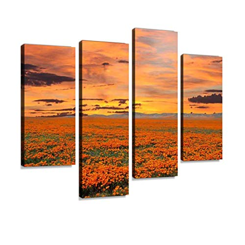 California Poppy Field with Sunrise Sky Canvas Wall Art Hanging Paintings Modern Artwork Abstract Picture Prints Home Decoration Gift Unique Designed Framed 4 Panel