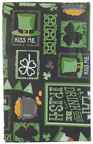 Chalkboard St. Patrick's Day Vinyl Tablelcloth with Clovers, Horseshoes, Leprechaun's Hat, Pot O' Gold, Irish Flag and More - Flannel Backing -