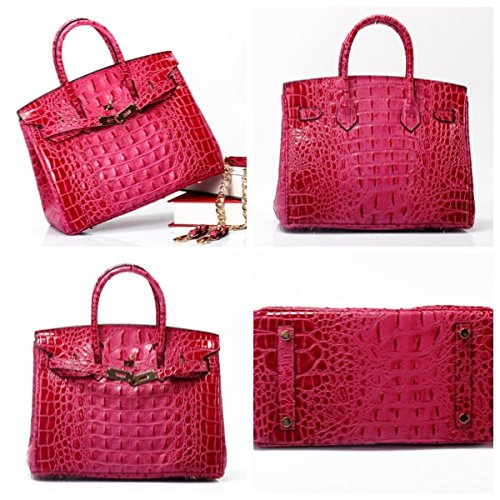 Vintage Alligator Birkin Style Bag Purse Tote Handbag (Red, 35cm - L) by PRISTINE&BB (Image #3)