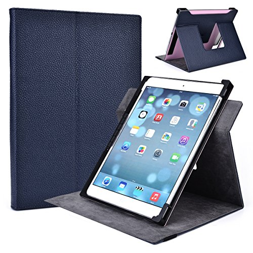 Navy Blue Rotating Case 360 Portrait or Landscape Stand fits AMARELEC 9-Inch, HP Touchpad 9.7