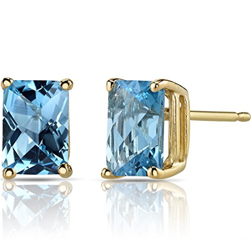 (14K Yellow Gold Radiant Cut 2.25 Carats Swiss Blue Topaz Stud Earrings)
