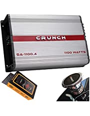 Crunch SA-1100.4 Smash Series 1,100-Watt 4-Channel Class AB Amp Car Audio Sound System Subwoofer Speaker Amp Amplifier with Gravity Magnet Phone Holder Bundle