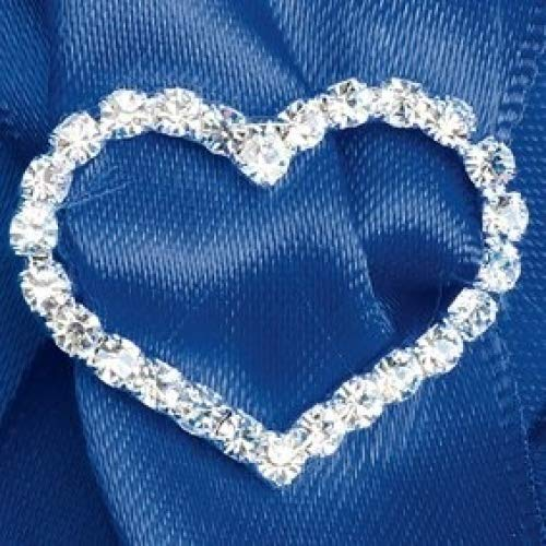 Club Green Diamond Heart Ribbon Buckle, Silver, 2.8 x 2 cm, Pack of 5 CCM362