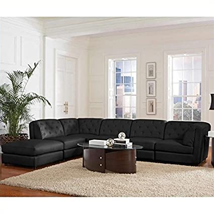 Coaster Quinn Transitional Modular Leather Sectional Sofa in Black