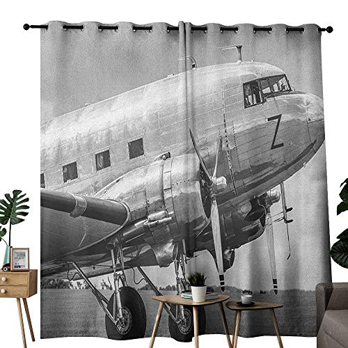 (duommhome Vintage Airplane Decorative Curtains for Living Room Old Airliner Cockpit Antique Engine Propellers Wings and Nostalgia Image Noise Reducing W120 x L84 Grey Black)