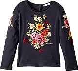 Dolce & Gabbana Kids Baby Girl's Back to School Floral Long Sleeve T-Shirt (Toddler/Little Kids) Navy 4T