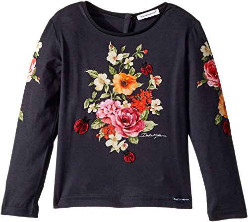 Dolce & Gabbana Kids Baby Girl's Back to School Floral Long Sleeve T-Shirt (Toddler/Little Kids) Navy 4T by Dolce & Gabbana