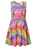 Jxstar Little Girls Printed Dress Rainbow Unicorn Sleeveless Dress Rainbow Unicorn 160