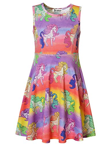 Jxstar Rainbow Dress for Girls Hawaiian Dress Short Sleeve Dress Unicorn 130 -