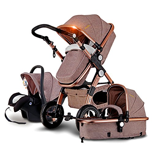 - European Baby Stroller 3 in 1,Baby Pushchair ,High Landscape Fold Strollers for Children Travel System,Prams for Newborns