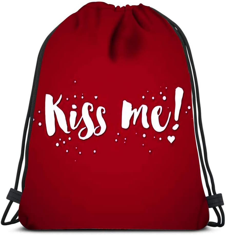 Drawstring Backpack Valentine Day Text Kiss Me Laundry Bag Gym Yoga Bag
