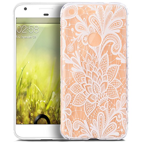 Price comparison product image Google Pixel XL Case, Google Pixel XL Cover, ikasus Scratch-Proof Ultra Thin Crystal Clear Rubber Gel TPU Shockproof Soft Silicone Bumper Protective Case Cover for Google Pixel XL, White Lace Flower