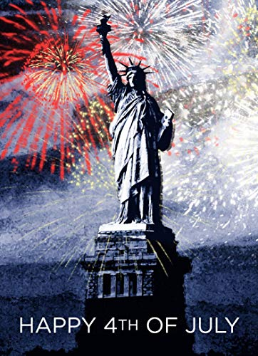 July 4th Greeting Cards - JF1502. Greeting Cards with an Image of the Statue of Liberty. Box Set Has 25 Greeting Cards and 26 Red Colored Envelopes.