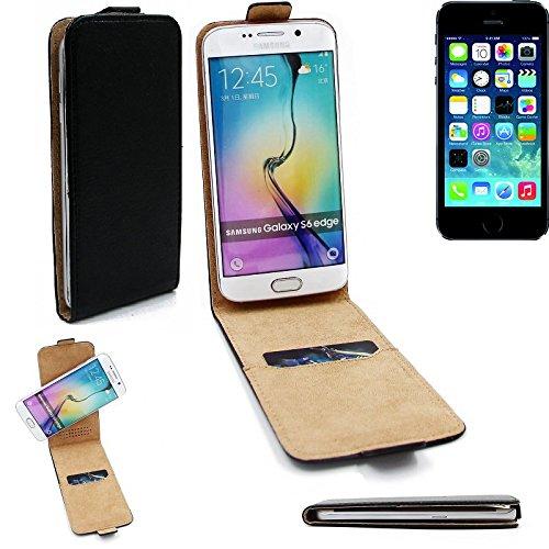 360° Flipstyle Schutzhülle Smartphone Tasche für Apple iPhone 5s, schwarz, Case Hülle Flip cover - K-S-Trade