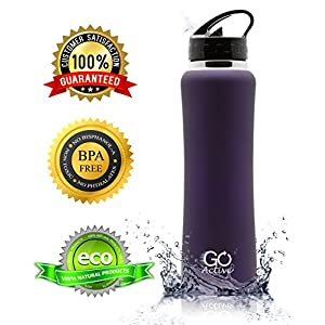 Stainless Steel Insulated Water Bottle with flip straw and sweat-proof rubber grip. H2O Sports drinking bottle is BPA Free, Eco Friendly, Good for Kids, and keeps ice over 24 hours (Dark Purple, 32oz)