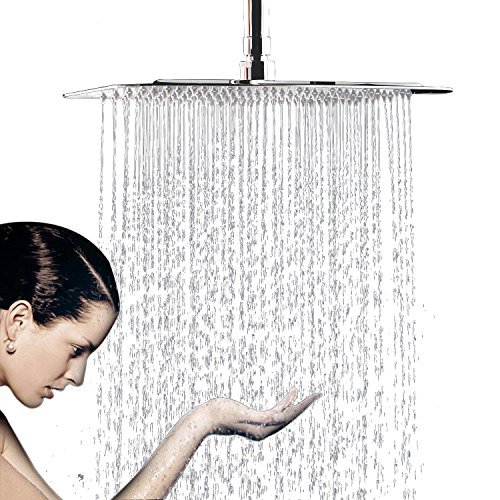 Teflon Nozzle Gasket (12 Inch Large Square Rain Showerhead, Stainless Steel High Pressure Shower Head with Polish Chrome Finish, Ultra Thin Waterfall Full Body Coverage with Silicone Nozzle Easy to Clean and Install)