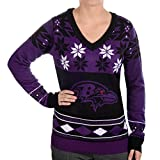 Klew Baltimore Ravens Women's NFL Big Logo Ugly V-Neck Sweater
