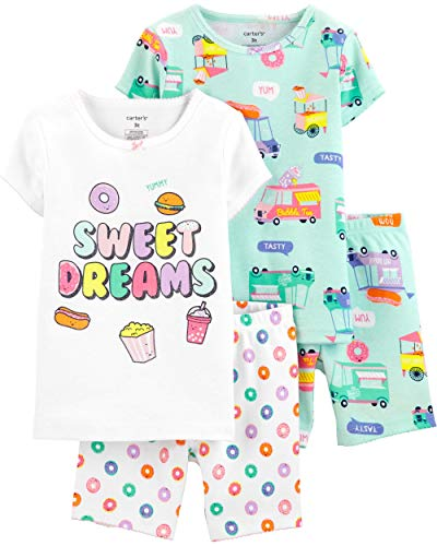 Carter's Toddler and Baby Girls' 4 Piece Cotton Pajama Set, Sweet Dreams, 2T