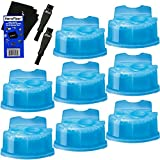 Braun Series 7 Cleaning Base - Braun Clean & Renew Refill Cartridges, Replacement Cleaner, Cleaning Solution (8 pack) for Series 3, Series 5, Series 7 & Series 9 + Double Ended Shaver Brush + HeroFiber Ultra Gentle Cleaning Cloth
