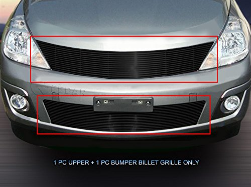 Fedar Compatible With 07-11 Nissan Versa Billet Grille Bolt Over and Replacement Style Combo Billet Grille Grill 2-pc Set-Black #320789790