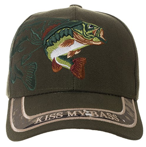 Artisan Owl Kiss My Bass Hat - Funny Fishing Fisherman Gift -100% Cotton Embroidered Cap (Green) - 100% Cotton Cap