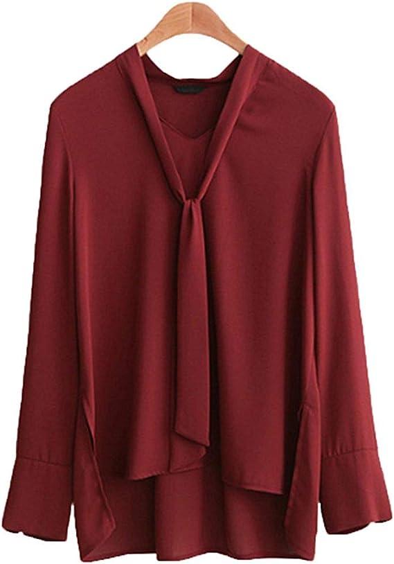 FuweiEncore Camisa Mujer Talla Extra Cuello V Color Puro Tops Manga Larga Oficina Blusa con Banda (Color : Vino Rojo, tamaño : XXL): Amazon.es: Hogar