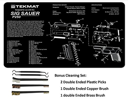 TekMat 11-Inch X 17-Inch Handgun Cleaning Mat with SIG P250 Imprint Bonus 5 oc Gun Cleaning Brush & Pick Set