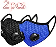 Cycling Face Bandanas, with 2 Breathing valve for Adults, Haze Dust Face Health Protection (2pcs, A)