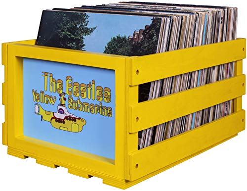 Price comparison product image Crosley AC1004A-YS Record Storage Crate Holds up to 75 Albums,  The Beatles Yellow Submarine