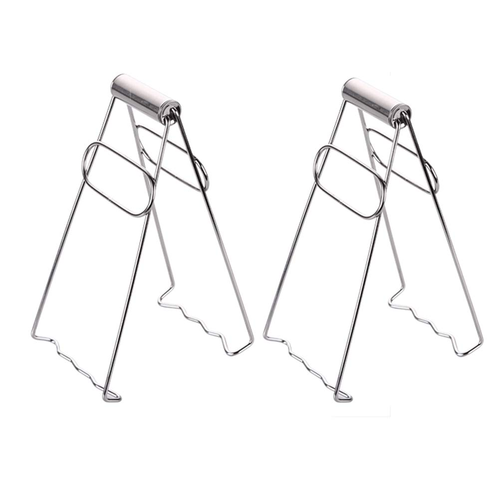 SYOOY 2 PCS Stainless Steel Foldable Hot Dish Plate Bowl Clip Pots Gripper Crockery Holder Clamp Kitchen Gadgets