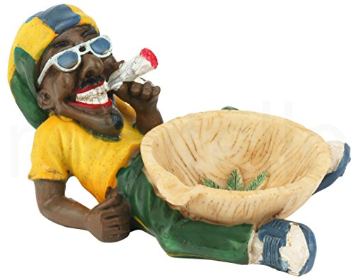 Mantello Jamaican Man Holding Ashtray Tabletop Cigarette Ashtray for Indoor Outdoor decor